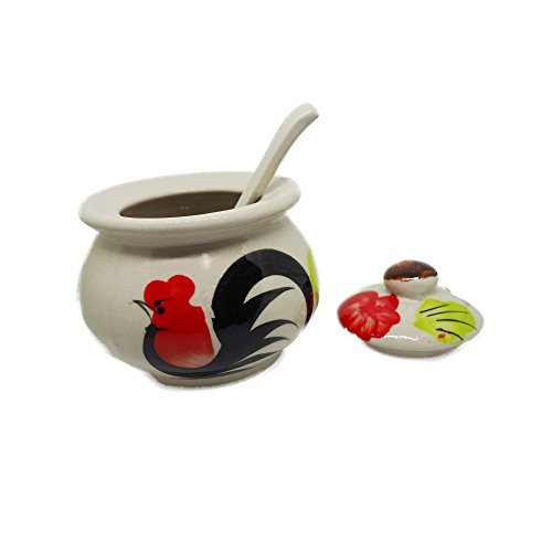 Thai Chicken Ceramic Sugar Bowl dispenser covered with Lid and Sugar Spoon 9.5x8.5 cm Hand made