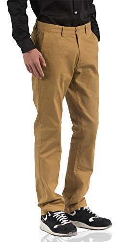 HETHCODE Men's Slim Fit Straight Leg Stretch Twill Flat Front Casual Chino Pants Dark Khaki (Lycra Straight Leg Pants)