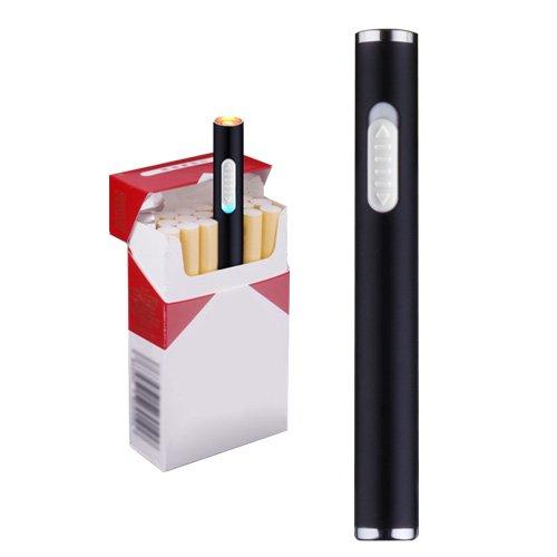 Mini Usb Cigarette Lighters Rechargeable Windproof Flameless Slim Electric Protable Lighter (Black)