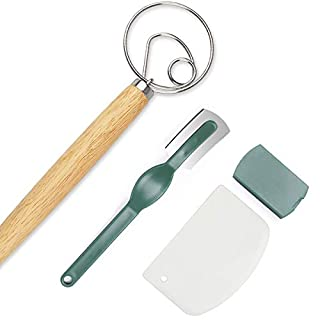 Bread Lame Danish Dough Whisk Plastic Dough Scraper Set, Stainless Steel Danish Dough Whisk,Dough Scraper and Bread Lame with 5 Replacement Blades for Cake Dessert Bread pastry, pizza.Great Homemade Bread Tools Gift (3 set