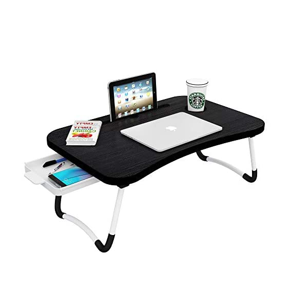 Callas Multipurpose Foldable Laptop Table with Cup Holder, Study Table, Bed Table, Breakfast Table, Foldable and