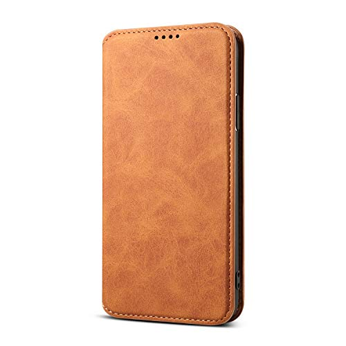 TACOO Case Cover for iPhone Xs/iPhone X,Soft Leather Slim Wallet Full Protection Kickstand Khaki Color Fold Money Card Holder Men Women Shell