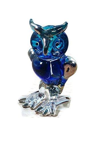 TINY CRYSTAL OWL HAND BLOWN CLEAR GLASS ART OWL FIGURINE ANIMALS COLLECTION GLASS BLOWN 001 (Glass Owl Figurine)