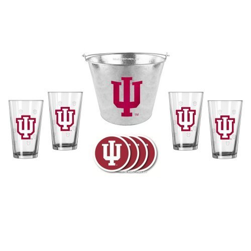 NCAA Indiana - Galvanized Ice Bucket, Pint Glasses (4) & Vinyl Coasters (4) Set | Indiana Hoosiers Beer Bucket Gift Set (Bucket Etch Satin)