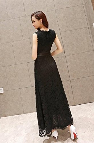 [オチビ] ロングドレス マキシ ワンピース レース シフォン 黒 白 結婚式 パーティー S M L XL 2XL