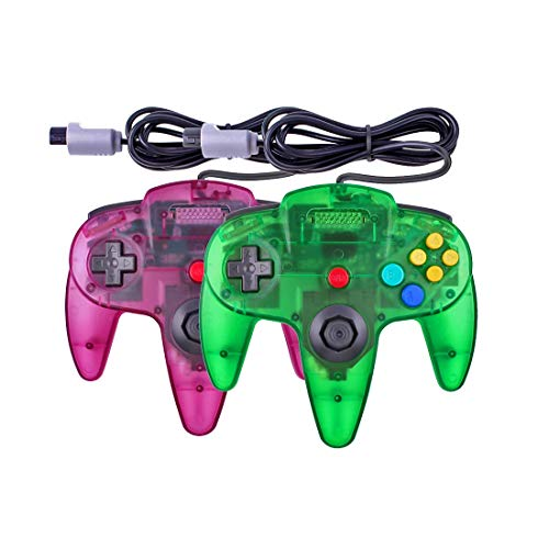 Joxde 1 Pack Upgraded Joystick Classic Wired Controller Compatible for N64 Gamepad Console (Clear Green and Clear Purple)