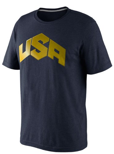 Nike Men's USA Basketball Gold Logo T-Shirt Large Heather Blue (Nike Gold Medal compare prices)