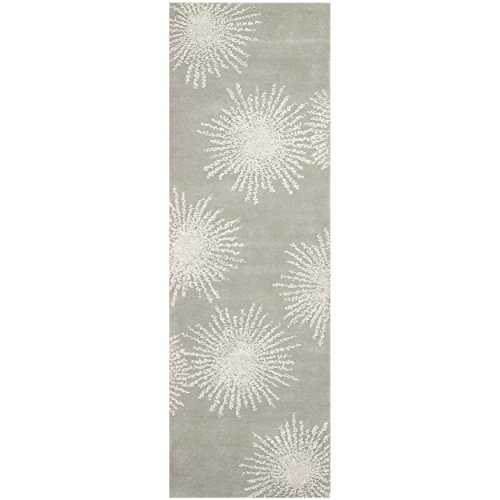 12'6' Runner (Safavieh Soho Collection SOH712K Handmade Fireworks Grey and Ivory Premium Wool Runner (2'6
