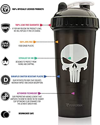 PerfectShaker Performa - Marvel Series, Leak Free Protein Shaker Bottle with Actionrod Mixing Technology! Shatter Resistant & Dishwasher Safe (28oz)