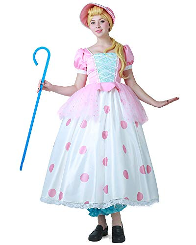 Miccostumes Women's Little Bo Peep Costume Cosplay Dress Bonnet (S)]()