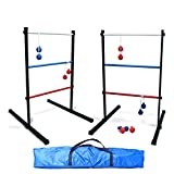 SPORT BEATS Deluxe Indoor/Outdoor Metal Ladder Ball Toss Game Set with 6 Rubber Bolos and Carrying Case,Great for Family Fun