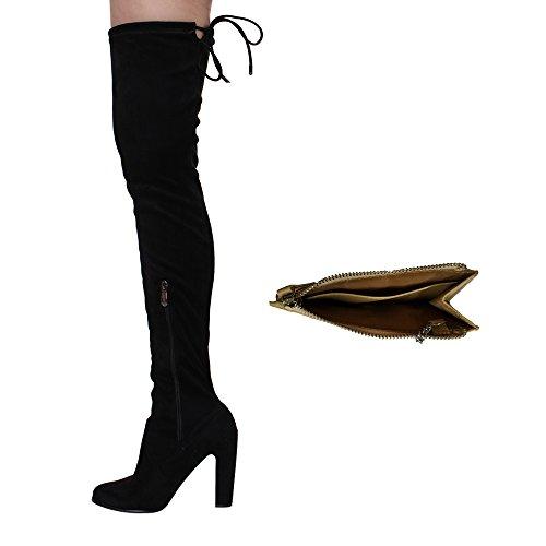 Snug Heel Robbin Block Zip Side Black Dd17 High Cape Boots Women's Fit Stretchy Thigh 8qwRWY