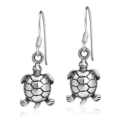 Serene Spirit Sea Turtle .925 Sterling Silver Dangle Earrings (Charm Turtle Earrings)
