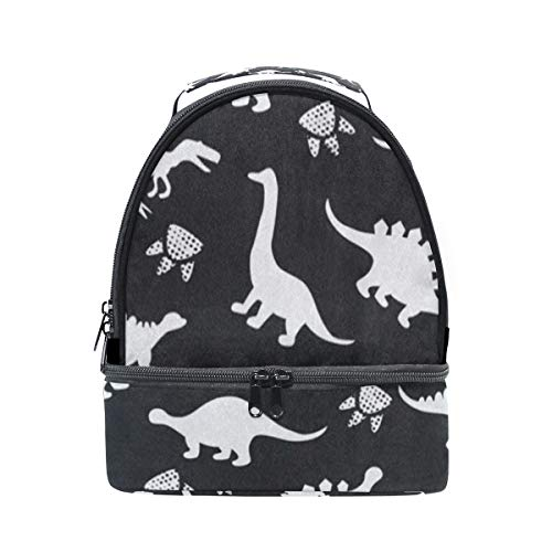 (Insulated Lunch Bag Reusable, Cute Kids Dinosaur Sling Shoulder Lunch Tote Travel Picnic Drawstring Bento Cooler Bag Double layer)