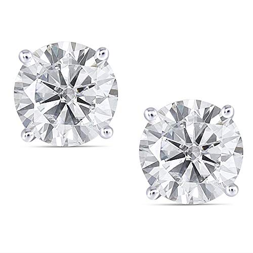 DovEggs 14K White Gold Post 4ct 8mm Slight Grey Moissanite Stud Earring Push Back Platinum Plated Silver for Women