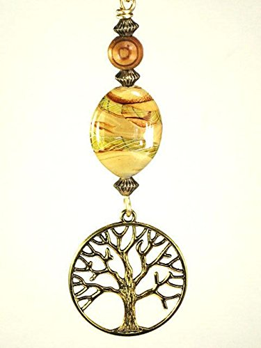 Golden Tree of Life with Neutral Tan, Brown, Green Lampwork Glass and Wood Ceiling Fan Pull