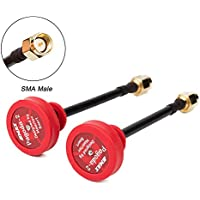 UUMART 2pcs Emax Pagoda II 5.8GHz 80mm RHCP LHCP FPV Antenna SMA Plug Connector for FPV Multicopter-Red Pin