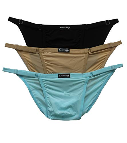 OWL NO.1. Men's Thong Underwear Sexy Low Rise Ice Silk Panties (3Pack-B-Light Blue-Color)