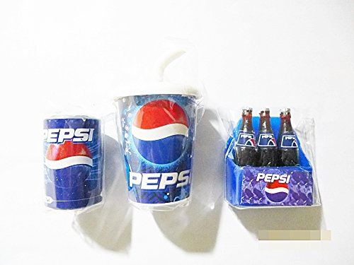 (1x Pepsi Miniature Magnet Fridge Dollhouse Collectibles set of Cup Can Crate Bottle, 3 pcs)