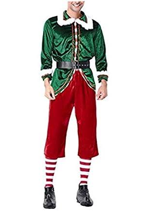Mitef Disfraz De Duende Verde Navideño Santa Claus Traje ...