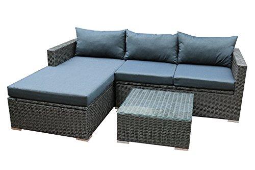 Patioflare PF-CS290PS-BK Emmett Deep Seating Sofa Sectional Set with Storage, Dark Grey/Cushions
