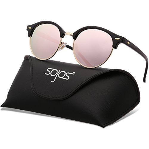 SojoS Classic Clubround Shades Semi-Rimless Unisex Sunglasses with Metal Rivets SJ2031 (C11 Black Frame/Polarized Pink Mirrored Lens, 52) (Shades Sunglasses)