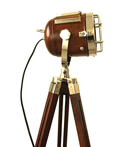 Vintage Searchlight Marine Nautical Look Spotlight Retro Brown Wooden Tripod Searchlight by Collectibles Buy (Image #5)