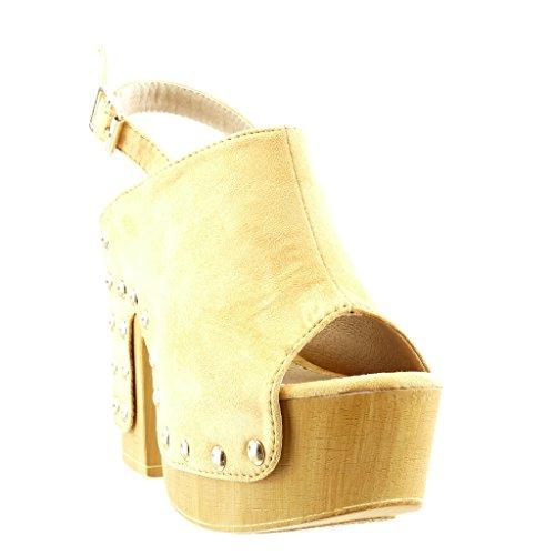 Angkorly - Zapatillas de Moda zueco Sandalias zapatillas de plataforma mujer tachonado madera Talón Tacón ancho alto 12.5 CM - Camel