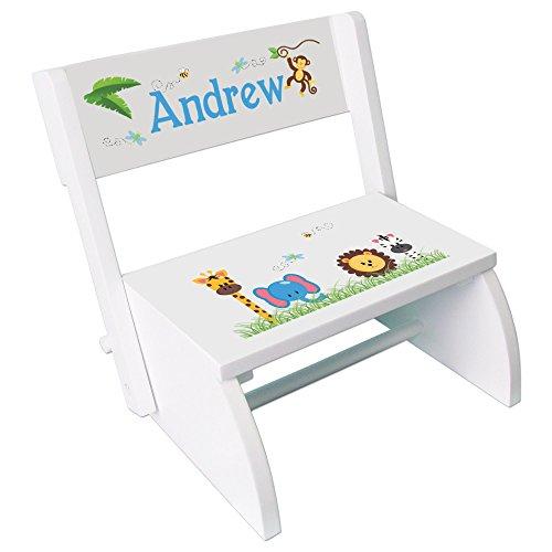 Personalized Jungle Animals Boy Childrens and Toddlers White folding stool (Animal Safari Stool)