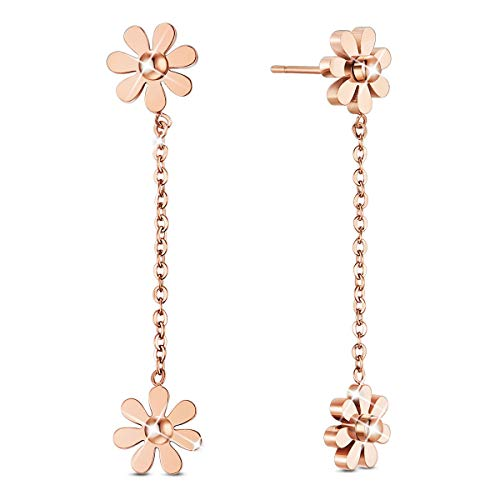 SHEGRACE Woman Stainless Steel Daisy Flowers Anklet Rose Gold Adjustable 200mm Jewellery Gift (Rose Gold-Daisy Flower Drop Earring)