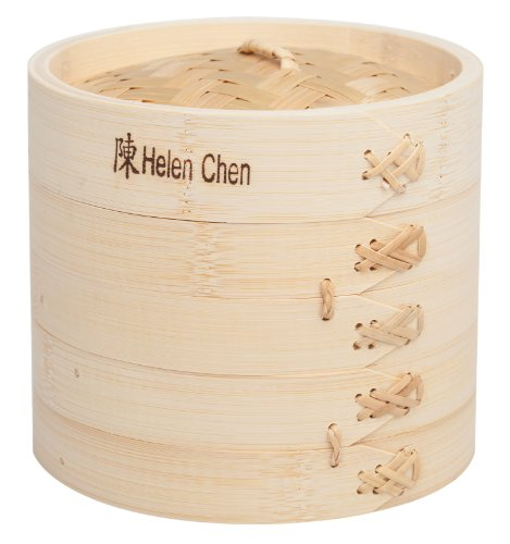 Helen's Asian Kitchen 97080 Food Steamer with Lid, 6-Inch, Natural Bamboo (Steamer Chinese)