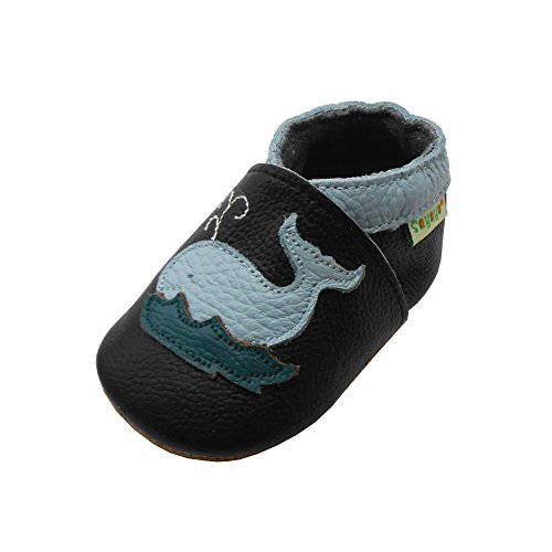 Sayoyo Baby Cute Dolphin Soft Sole Black Leather Infant And Toddler Shoes 12-18Months (Boys Leather Soft)