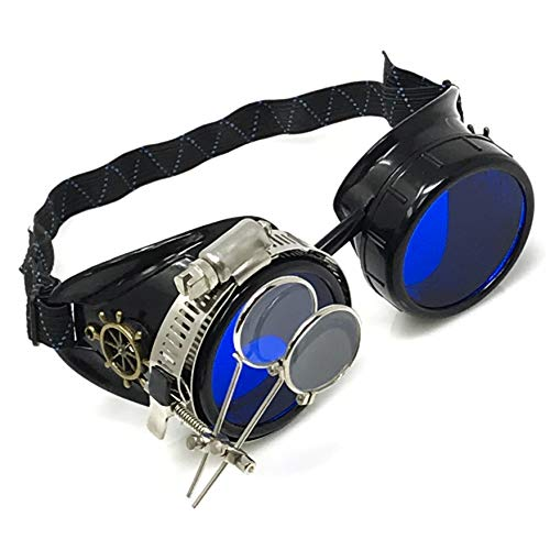Steampunk Victorian Goggles Rave Glasses, Sleek and Stylish Industrial, Azure Blue Lenses, Double Clip on Eye Loupe -