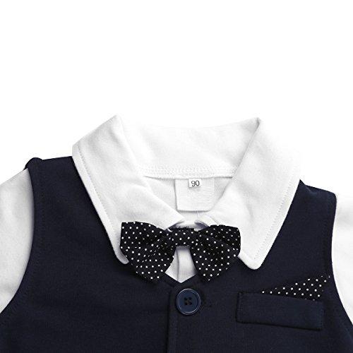 Baby Boy's Jumpsuit Romper 3Pcs Newborn Gentleman Formal Tuxedo Suit Outfit Set