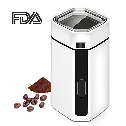 Coffee Grinder Electric, TOBOX Multifunctional Spice and Coffee Grinder Mill with Stainless Steel Blades Fast Grinding Coffee Beans, Nuts, Grains, Spices (White)