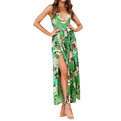 Guesspower Femme Robe Lngues Plage Chic Sexy t Dames V Cou Strappy Mesdames Maxi Longue t Boho Imprimer Maxi Kimono Tunique Caftan Robe Caftan 5 Couleur, S-XL(36-42) Vert