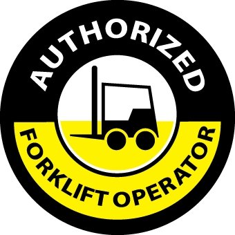 NMC HH63 2'' x 2'' PS Vinyl Label w/Legend: ''Authorized Forklift Operator'', 12 Packs of 25 pcs