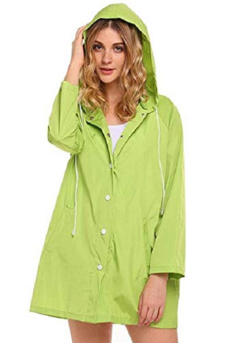 Verde Monouso Hx Donna Monocromo Chic Ragazza Fashion Breasted Joggers Antipioggia Single Giacca Cape Fahrrad Parapioggia Non Outdoor Pioggia Impermeabile Incappucciato 4HzHvq