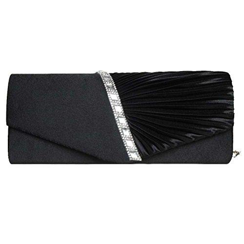 Fashion Road Womens Pleated Crystal Evening Clutch Handbags ...