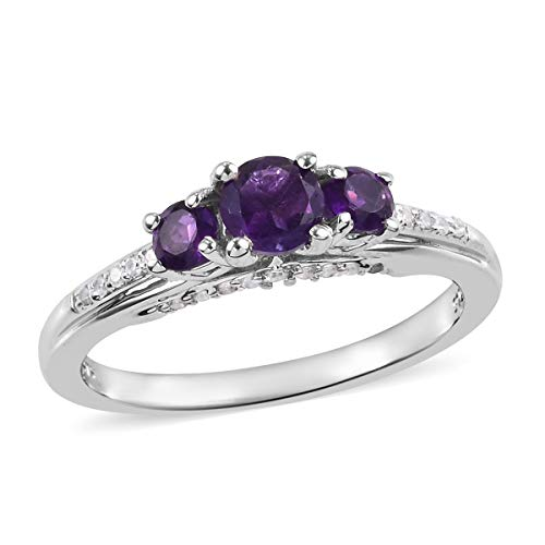 - Statement Ring 925 Sterling Silver Platinum Plated Amethyst Zircon Jewelry for Women Size 8 Ct 0.9