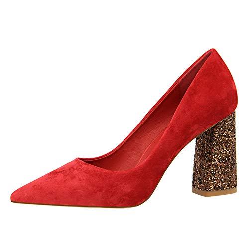 C 37 EU FLYRCX Pointy épais des Chaussures Simples de tempéraHommest élégant Chaussures de Travail Les Les dames à Talons Hauts