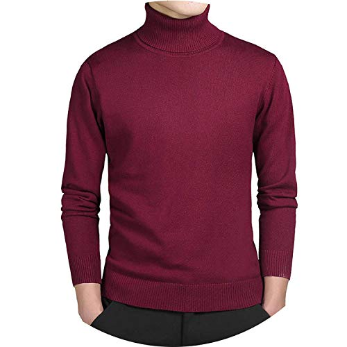 Ting room Casual Turtleneck Sweater Men Pullovers Autumn Fashion Style Sweater,red XL204,M