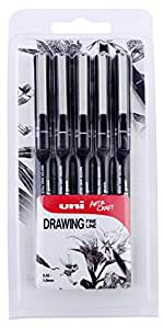 Uni Pin Drawing Pens, Pack of 5 Assorted Tip Sizes, Black Ink