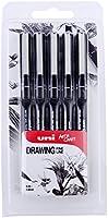 Ahorra en Bolígrafo de dibujo PIN 5 unidades. Bolígrafo negro en paquete de 5 unidades con punta de distintos tamaños y más