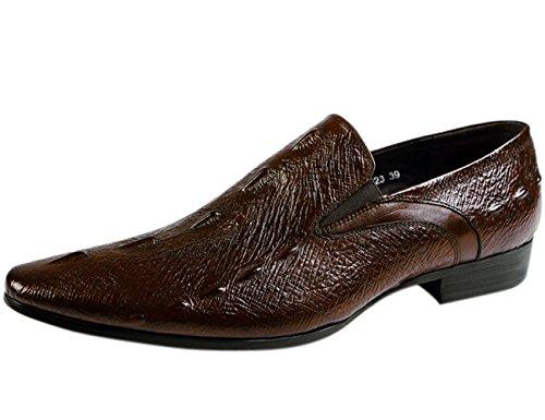 Santimon Mens Shoes Alligator Leather Venetian-Style Crocodile Print Casual Oxford Loafer Slip-On Dress Shoes tan Brown 9.5 D(M) US