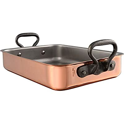 """Mauviel 6487.40 M'Heritage 150C Tri Ply 20/70/10 15.7"""" x 11.8"""" Roaster With Rack Cast Iron Handle, Copper"""