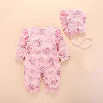 Fairy Baby Newborn Baby Girls Outfit Set 2pcs Clothes Set Lace Floral Romper with Cap Size 0-3M (Pink)