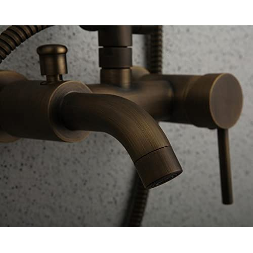 low-cost SAEKJJ-Antique Shower Faucet Traditional Rain Shower / Hand Shower Included Brass Antique Brass Bathroom faucet