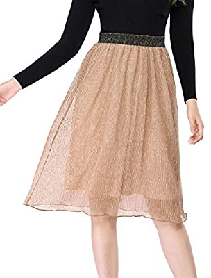 Allegra K Women's High Waisted Metallic A-line Skirt
