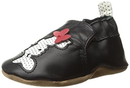 Minnie Silhouette - Robeez Girls' Disney Dots-K Slip-On, Minnie Silhouette Black, 0-6 Months M US Infant